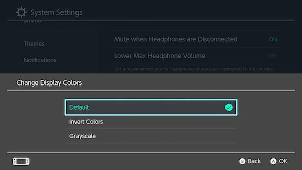 Change display colors in Nintendo Switch