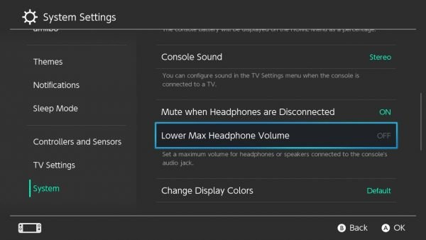 Lower Max Headphone Volume in Nintendo Switch