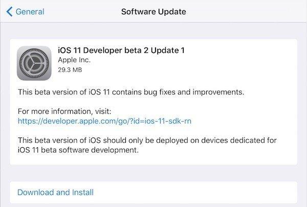 iOS 11 Developer Beta Update 1
