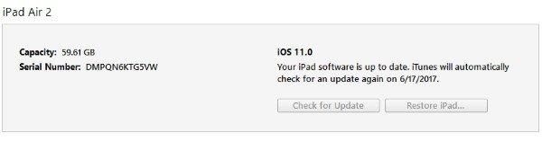 iTunes restore for iOS 11