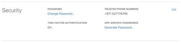 Apple app-specific passwords