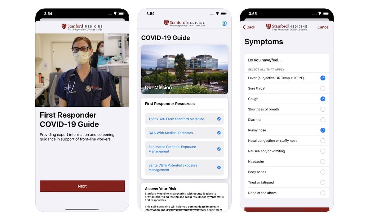 Stanford medical team COVID-19 screening app