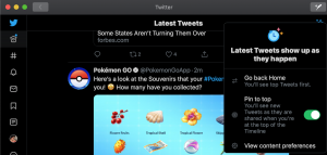 Twitter live stream-Pin to top