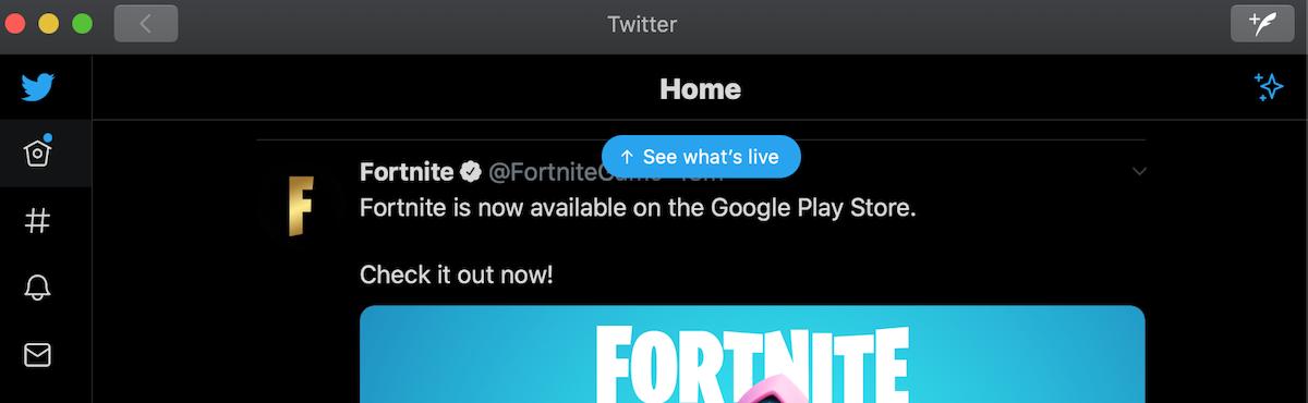 Twitter live stream top bar