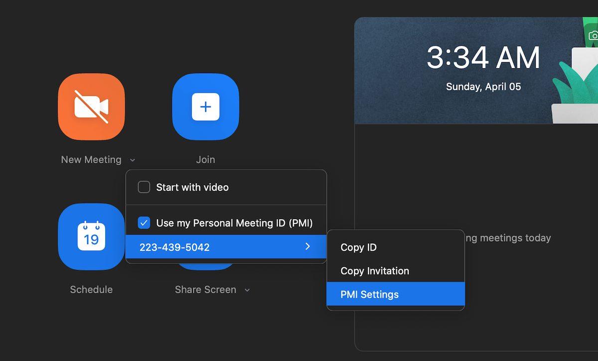 Zoom New meeting