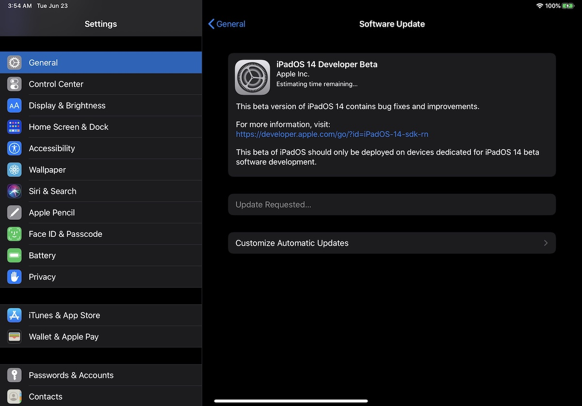 iPadOS 14 Developer beta Install