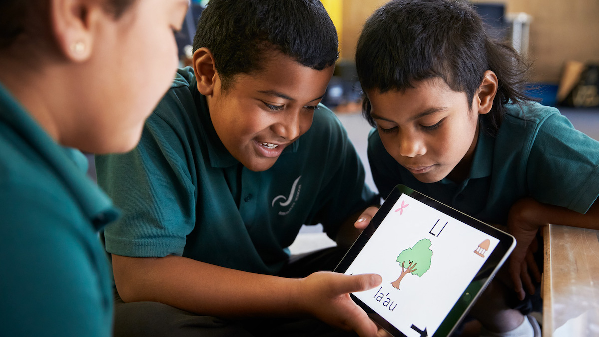 """In New Zealand, primary school students created a prototype 'Let's Learn Samoan"""" iPad app to learn their native language"""